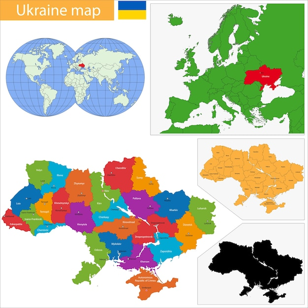 Ukraine map Premium Vector