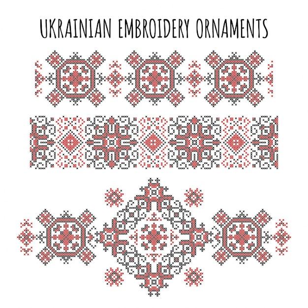 Украинские вышивальные украшения Бесплатные векторы