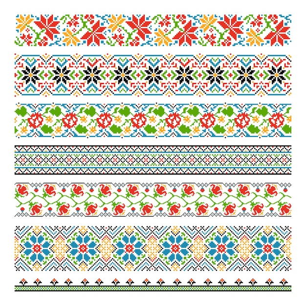 Ukrainian ethnic national border seamless patterns for embroidery stitch Free Vector
