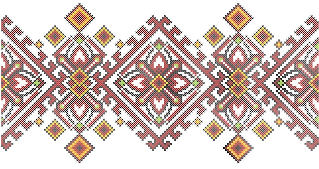 Ukrainian ethnic style cross stitch embroidery geometric pattern. Premium Vector