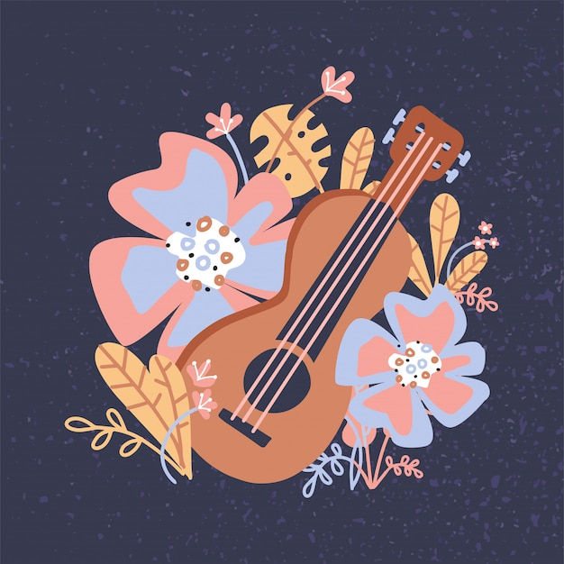 Ukulele and tropical leaves, flowers. wooden acoustic guitar for musical instruments store poster design. Premium Vector