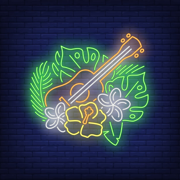 Ukulele with hibiscuses neon sign Free Vector
