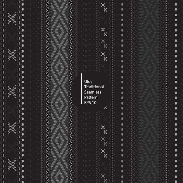Ulos traditional batik indonesia seamless dark color pattern background Premium Vector