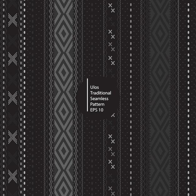 Ulos伝統的なバティックインドネシアシームレスな暗い色パターン背景 Premiumベクター