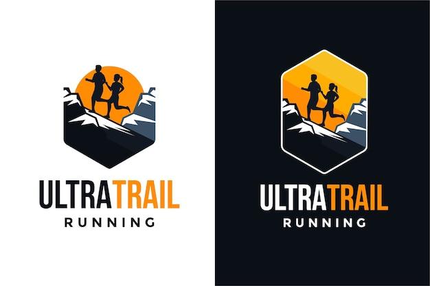 Ultra trail running logo set Premium Vector
