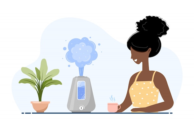 Ultrasonic air humidifier with house plants. african american woman enjoys the fresh moist air at home. home appliances for a healthy lifestyle. modern illustration in flat cartoon style. Premium Vector