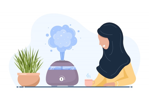 Ultrasonic air humidifier with house plants. arab woman enjoys the fresh moist air at home. home appliances for a healthy lifestyle. modern vector illustration in flat cartoon style. Premium Vector