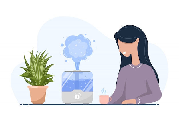 Ultrasonic air humidifier with house plants. woman enjoys the fresh moist air at home. home appliances for a healthy lifestyle. modern vector illustration in flat cartoon style. Premium Vector