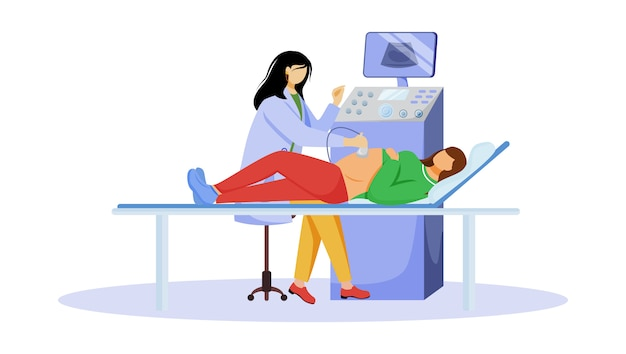 Ultrasound screening checkup of fetus flat illustration. pregnancy healthcare. pregnant woman with doctor gynecologist in clinic isolated cartoon characters on white background Premium Vector