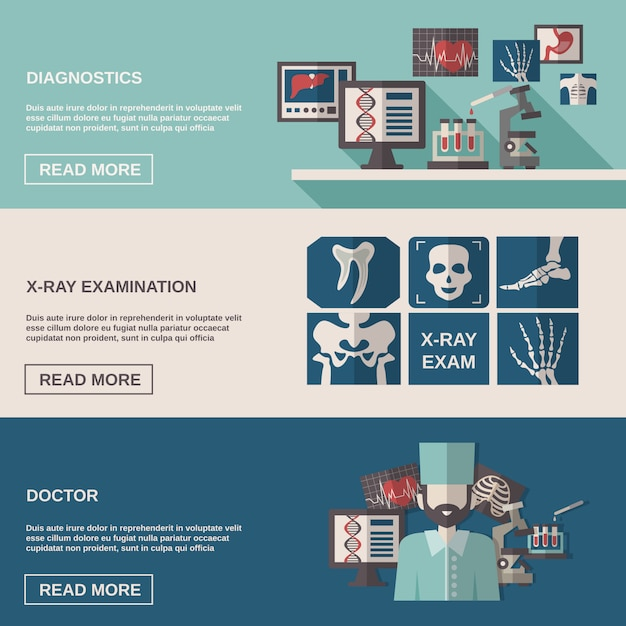 Ultrasound and x-ray banner set Free Vector