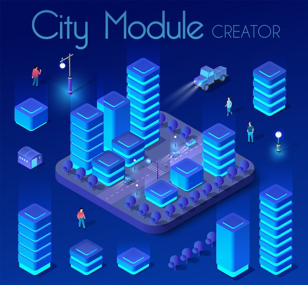 Ultraviolet isometric city Premium Vector