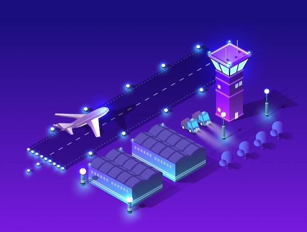 Ultraviolet night lights architecture Premium Vector