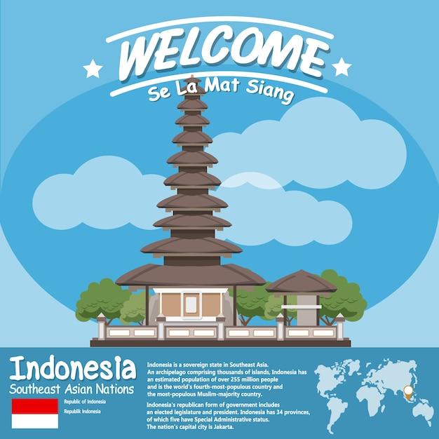 インドネシアランドマークulun danu寺院beratan lake in infographics Premiumベクター