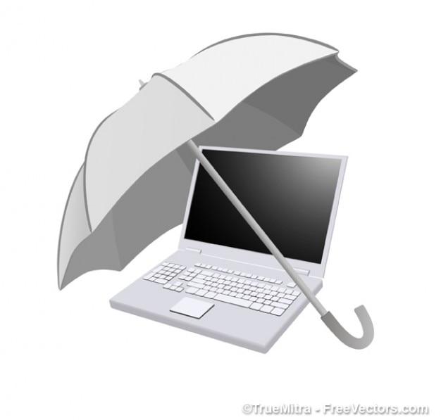Umbrella On Computer Vector Free Download