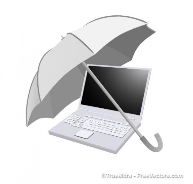 Umbrella On Laptop Vector Free Download