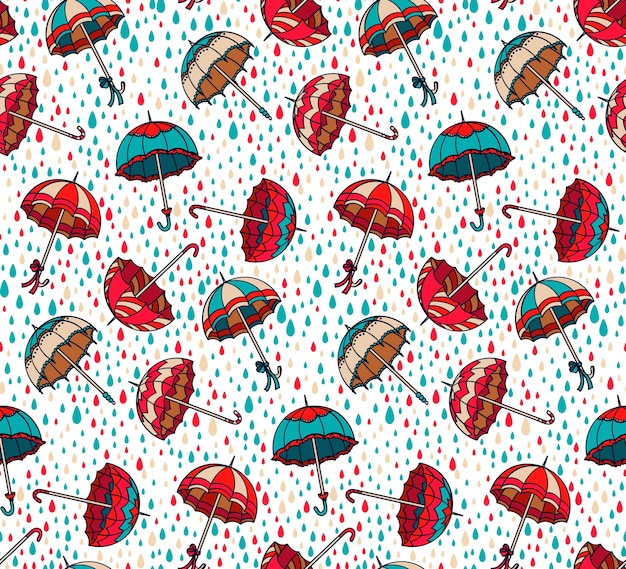 Raindrop Template. Seamless Watercolor Pattern With Raindrops