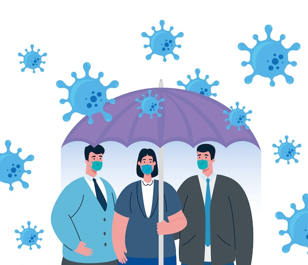 Umbrella protecting business people, inmmune coronavirus  concept Premium Vector