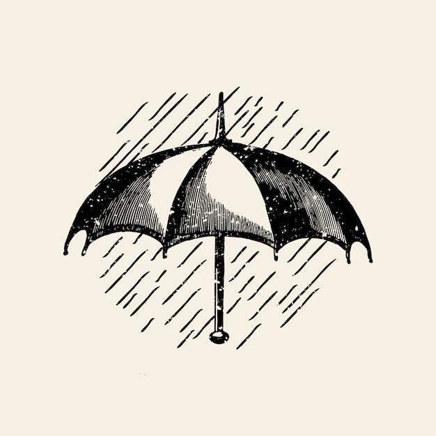 Umbrella in the rain badge vector Free Vector