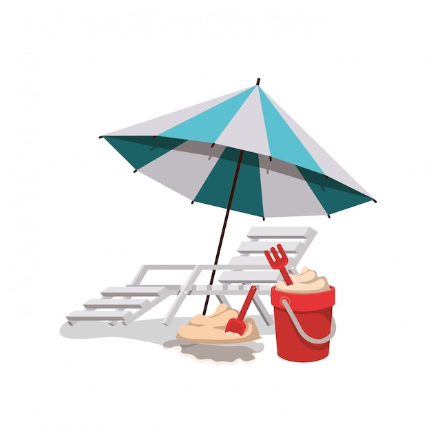 Umbrella striped with beach chair in white Free Vector