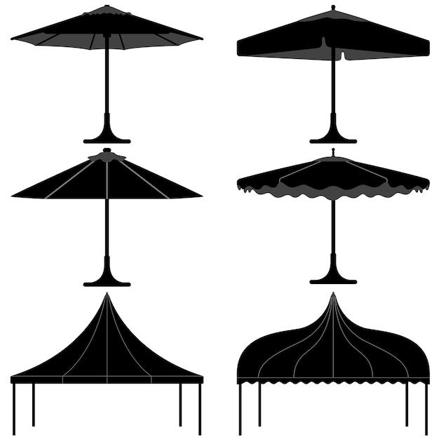 傘テントガゼボキャノピーキャンプシルエット。 Premiumベクター