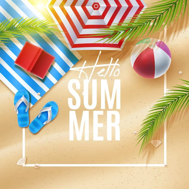 Umbrella and towel realistic summer background Free Vector