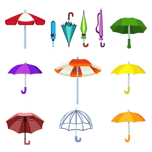 Umbrella vector isolated icons Premium Vector