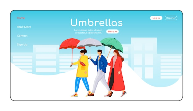 Зонты целевой страницы плоский цветной векторный шаблон. люди в плащах макет главной страницы. дождливая погода одностраничный интерфейс сайта с мультипликационным персонажем. целевая страница