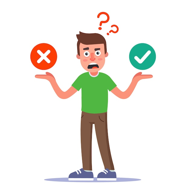 An uncertain character makes a decision. the choice between a positive and a negative answer. flat illustration. Premium Vector
