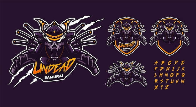 Шаблон логотипа талисмана нежити самурая Premium векторы