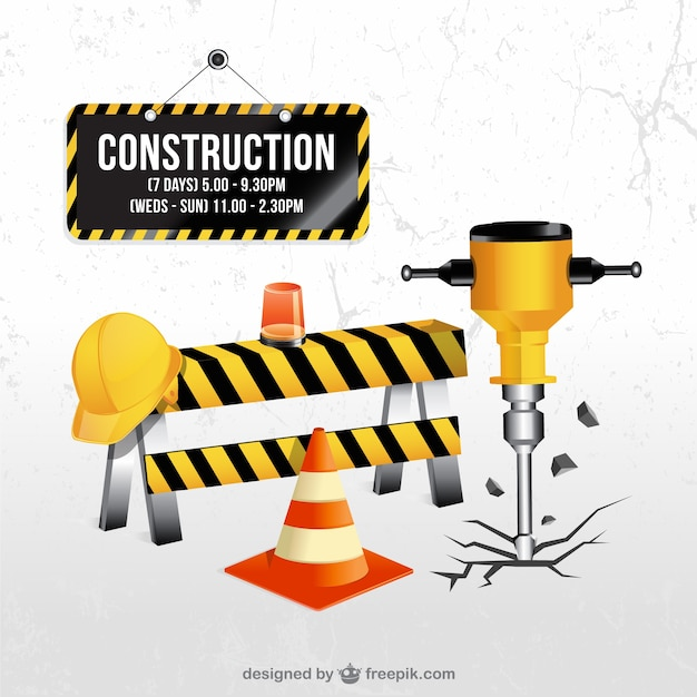 Under construction elements Free Vector