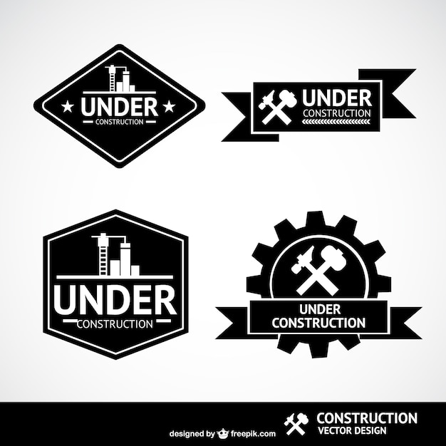 Under construction labels Vector | Free Download