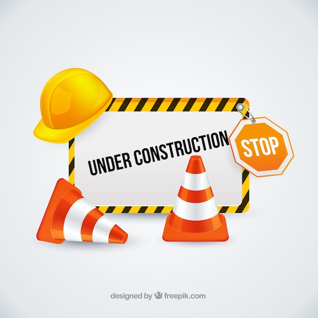 Under construction sign with traffic cones Vector | Free ...