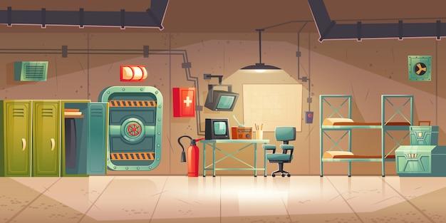 Bunker sotterraneo sala controllo bomba vuota Vettore gratuito