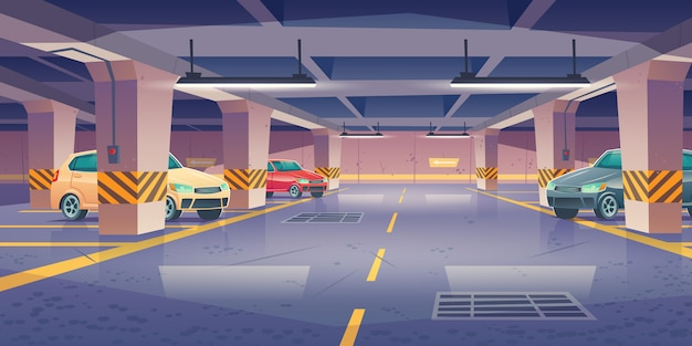 Underground car parking, garage with vacant places Free Vector