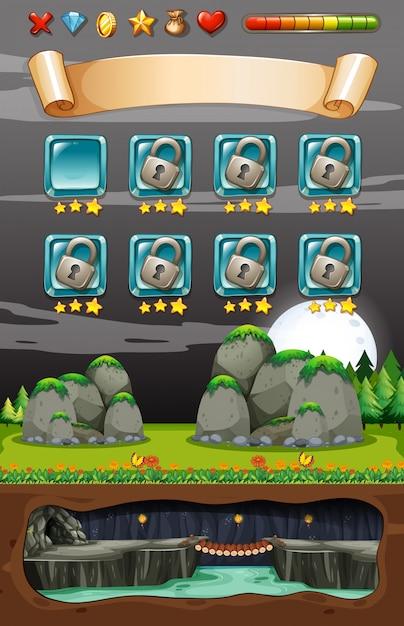 Underground cave nature game template Premium Vector