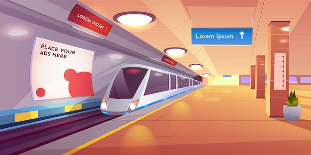 Underground interior with map and ads banners. Free Vector