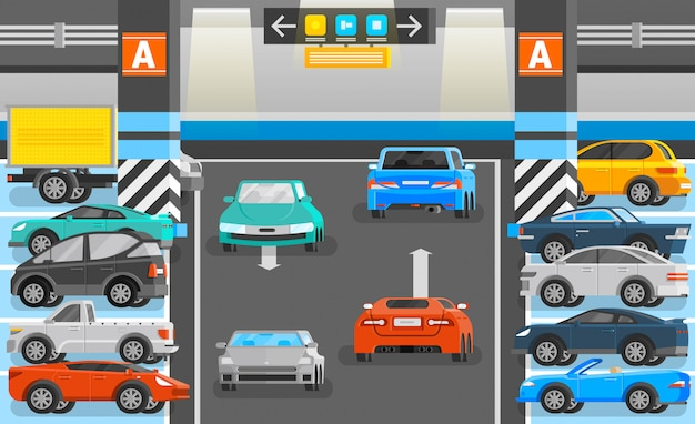 Underground parking illustration Free Vector