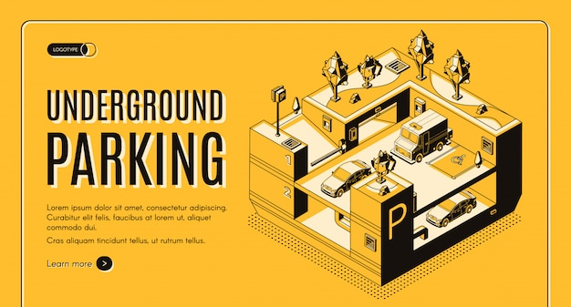 Underground parking service isometric  web banner. Free Vector