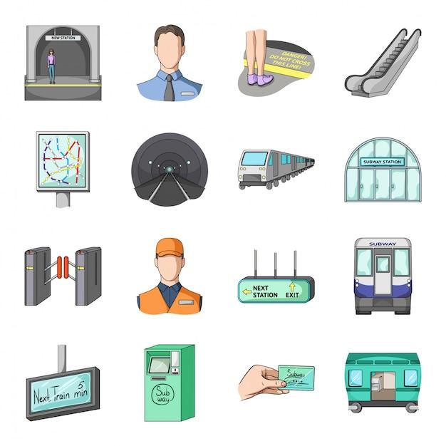 Underground train  cartoon set icon.  metro  . isolated cartoon set icon underground train. Premium Vector