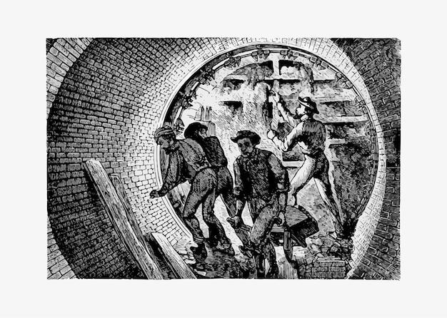 Underground tunnel workers Free Vector
