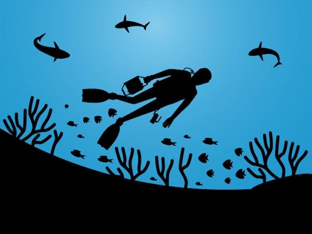 Undersea life silhouettes Premium Vector