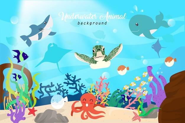 Underwater animal background Premium Vector