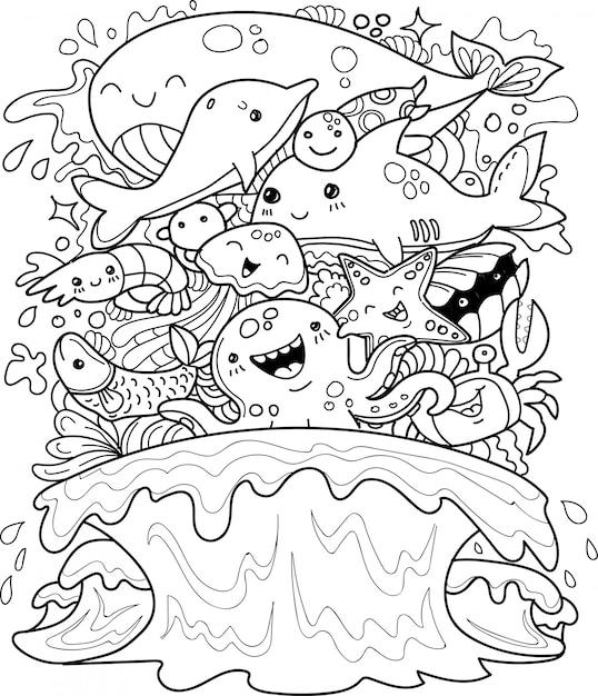 Underwater animals collection in doodle style Premium Vector