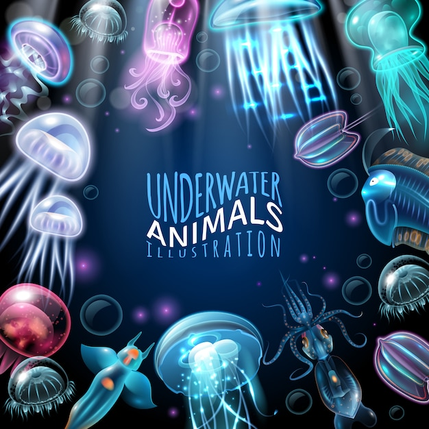 Underwater animals frame background Free Vector