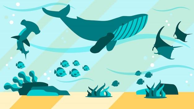 Underwater aquamarine life flat abstract Premium Vector