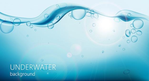 気泡と上に波と水中の背景 無料ベクター