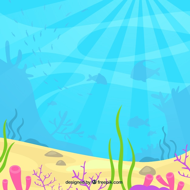 underwater background with aquatic animals vector free