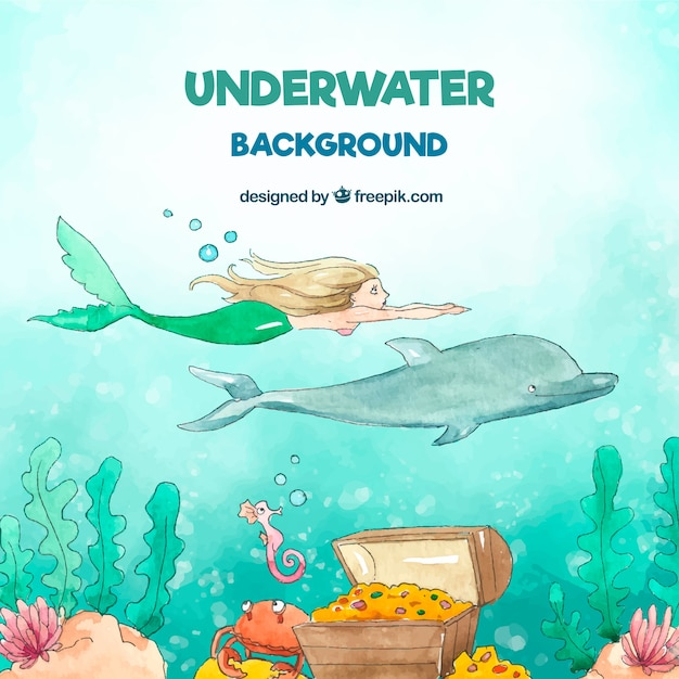 Underwater background with caricatures of aquatic animals Free Vector