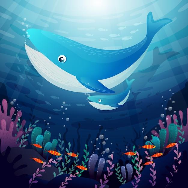 Underwater background with caricatures of aquatic animals Premium Vector
