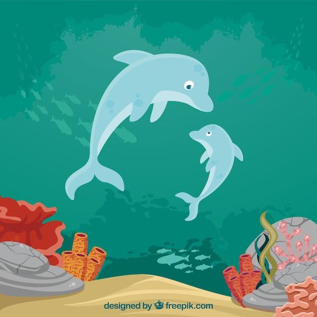 水生動物の似顔絵を持つ水中の背景 Premiumベクター